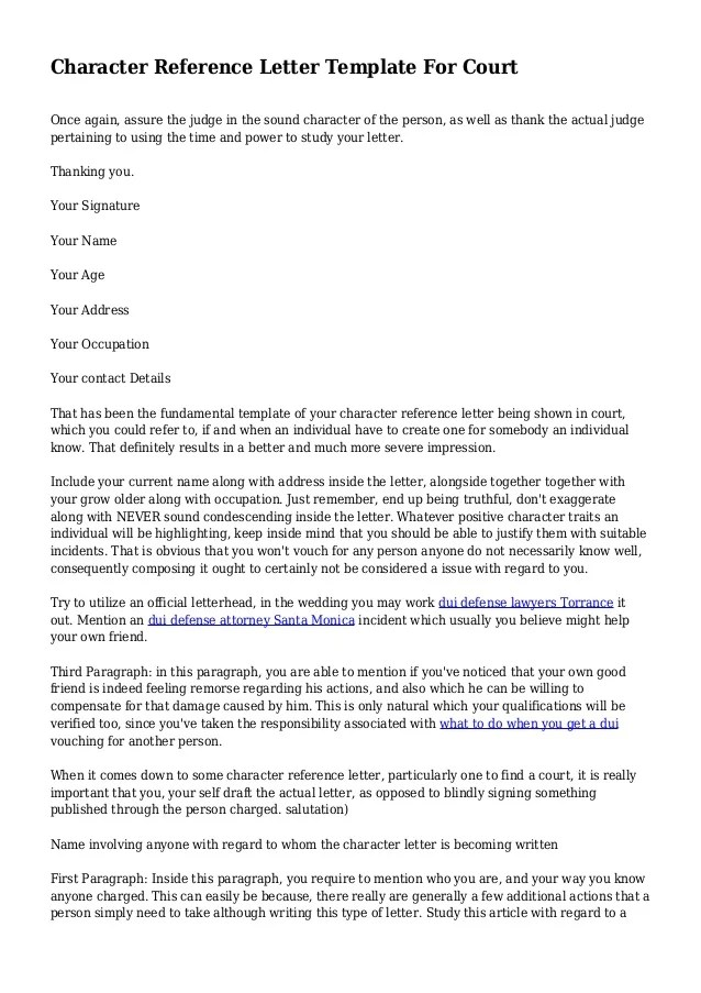 Example Character Reference Letter For Court Uk 28 Reference Letter ...