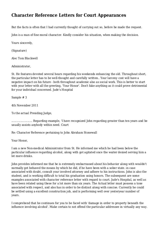 sample character reference letter for court sentencing - Diving