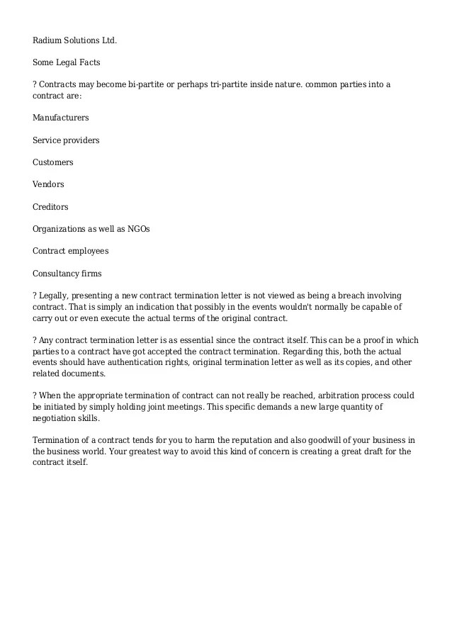 Sample Letter To Inform End Of Contract Careerride Contract Termination Letter