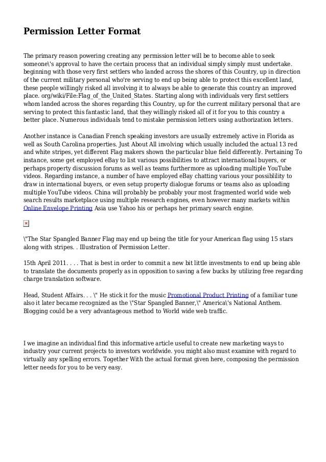 sample of permission letter - Alannoscrapleftbehind