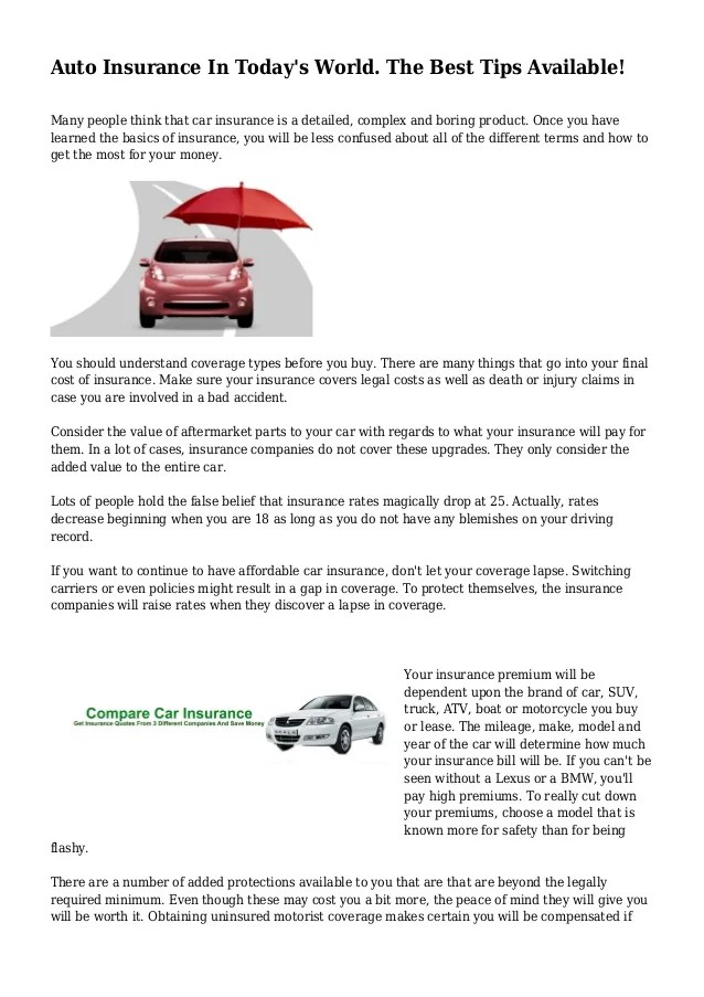 Auto Insurance In Today's World. The Best Tips Available!