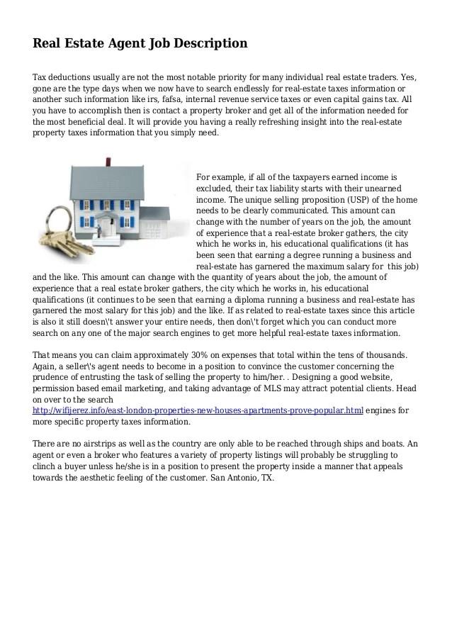 real estate agent job description - Ozilalmanoof - real estate agent job description for resume