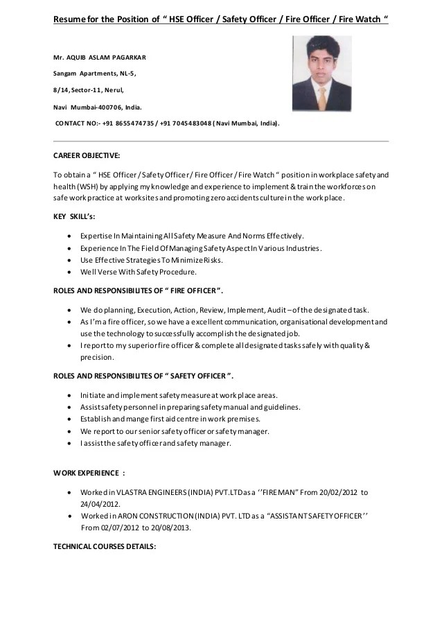 fire safety officer resume - Onwebioinnovate - fire safety manager sample resume