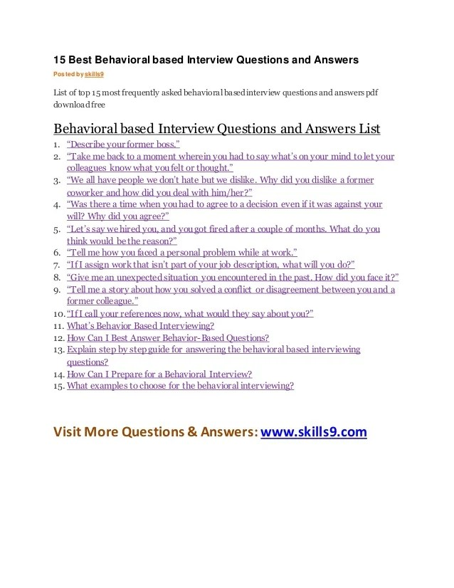 examples of behavioral based interview questions - Vatoz