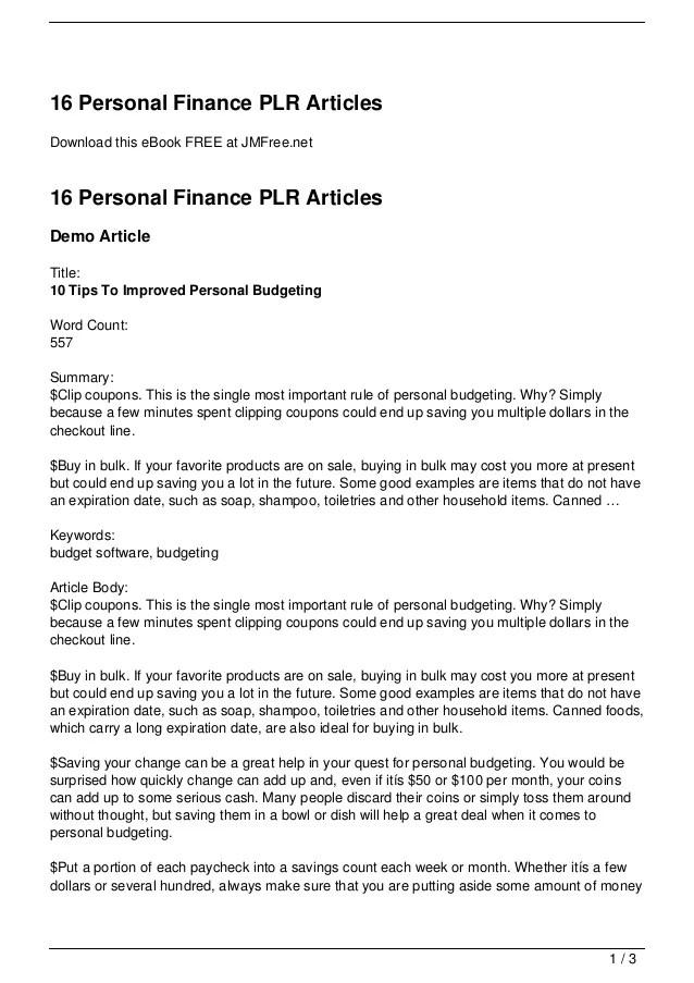 16 Personal Finance PLR Articles