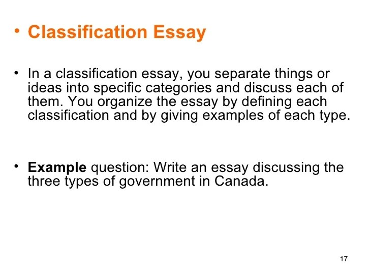 Classification essay idea