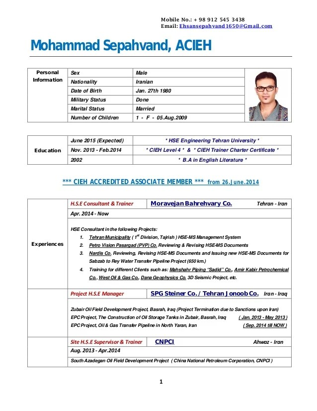 Resume Samples Find Different Career Resume Cv Cv M Sepahvand 25nov2014 With Table