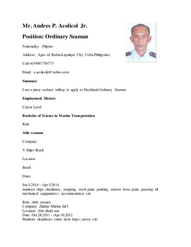 resume samples for ordinary seaman