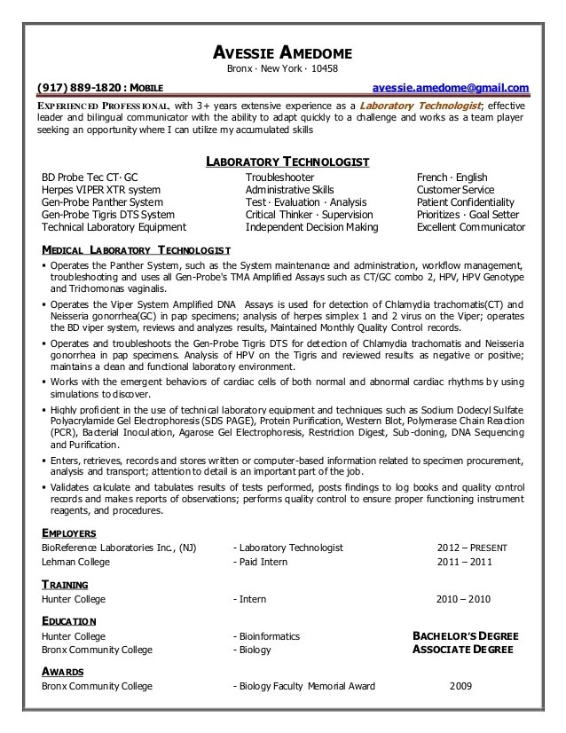 laboratory technologist resume sample