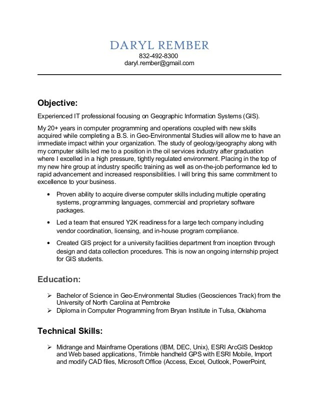 resume objective gis