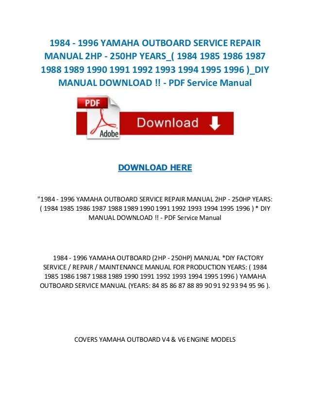 1993 yamaha p200 hp outboard service repair manual