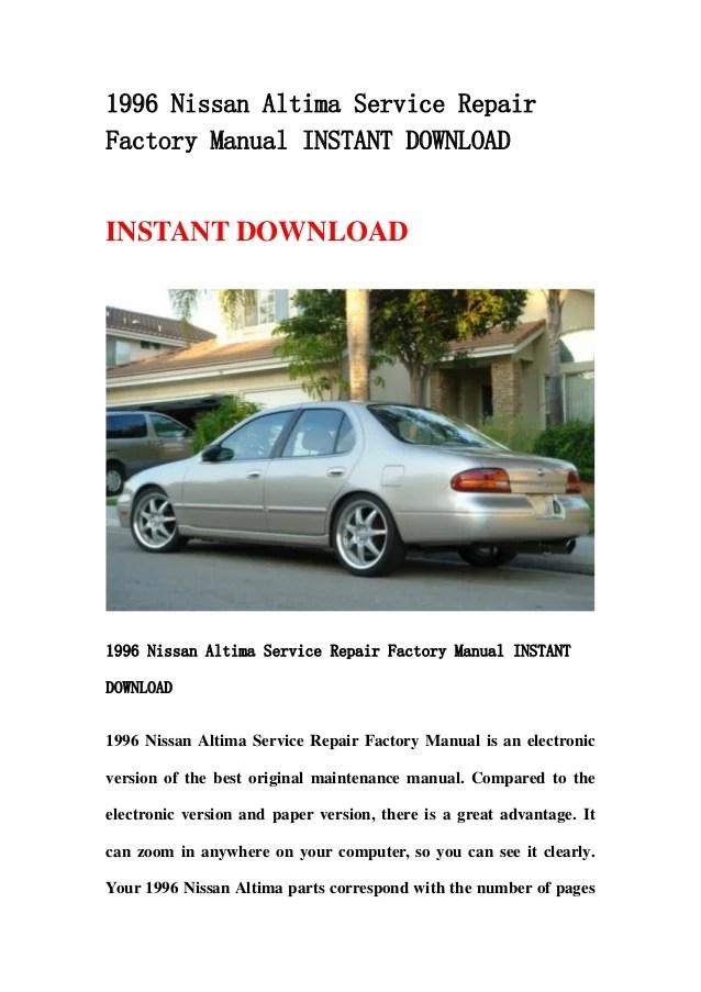 nissan altima 2000 factory service manual