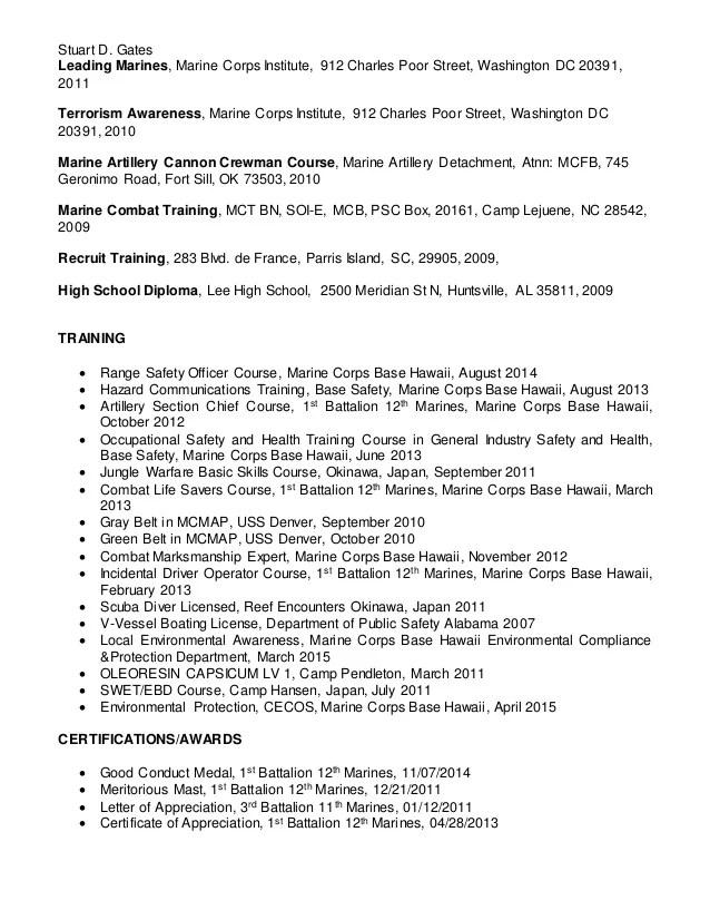 usmc resume - Goalgoodwinmetals - Marine Corps Resume