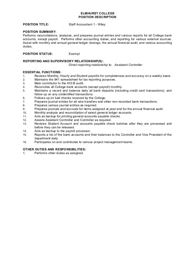 Teacher Resume And Cover Letter Examples Job Description Staff Accountant I