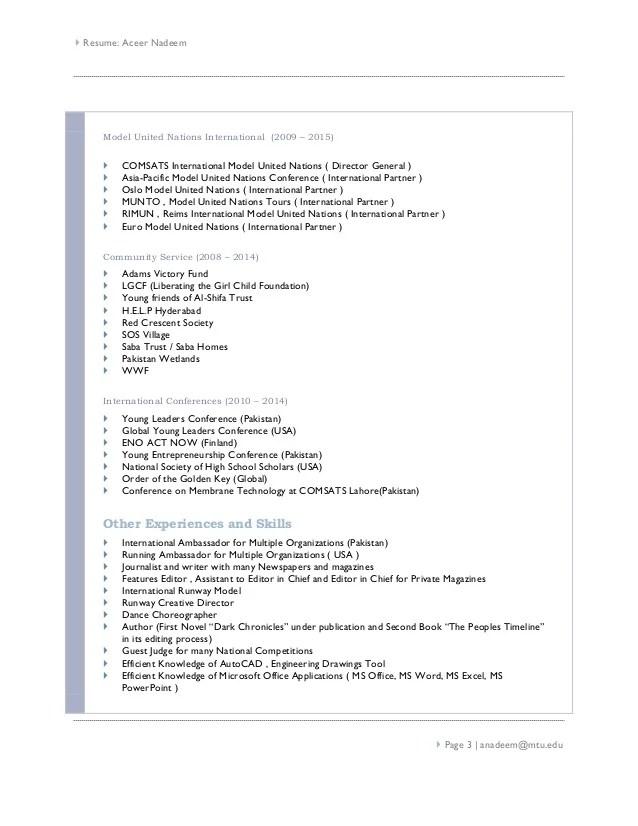 resume model united nations