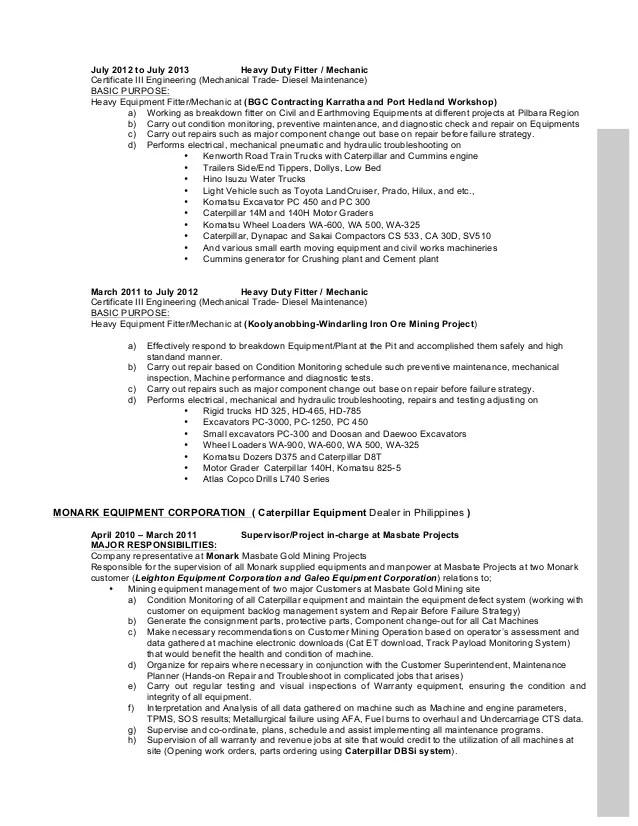 sample resume small engine mechanic