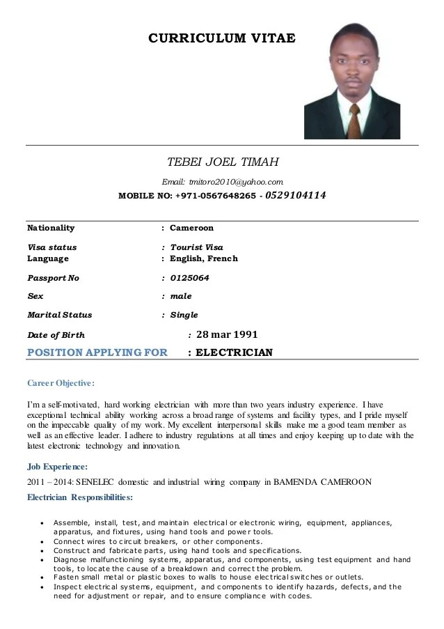 Cv Template Electricians Mate Resume Maker Create Professional - Cv about myself section