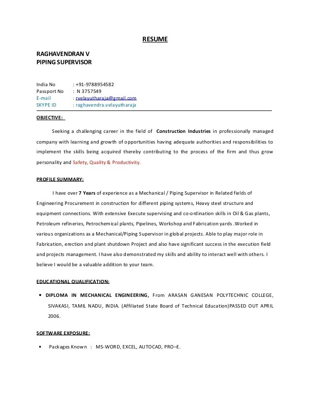 piping engineer resume example