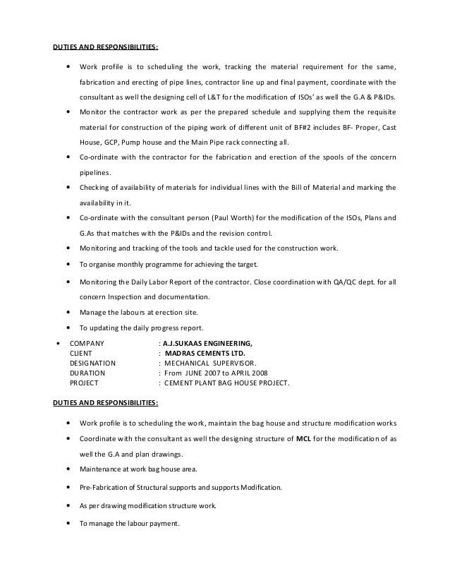 piping supervisor resume - Selol-ink