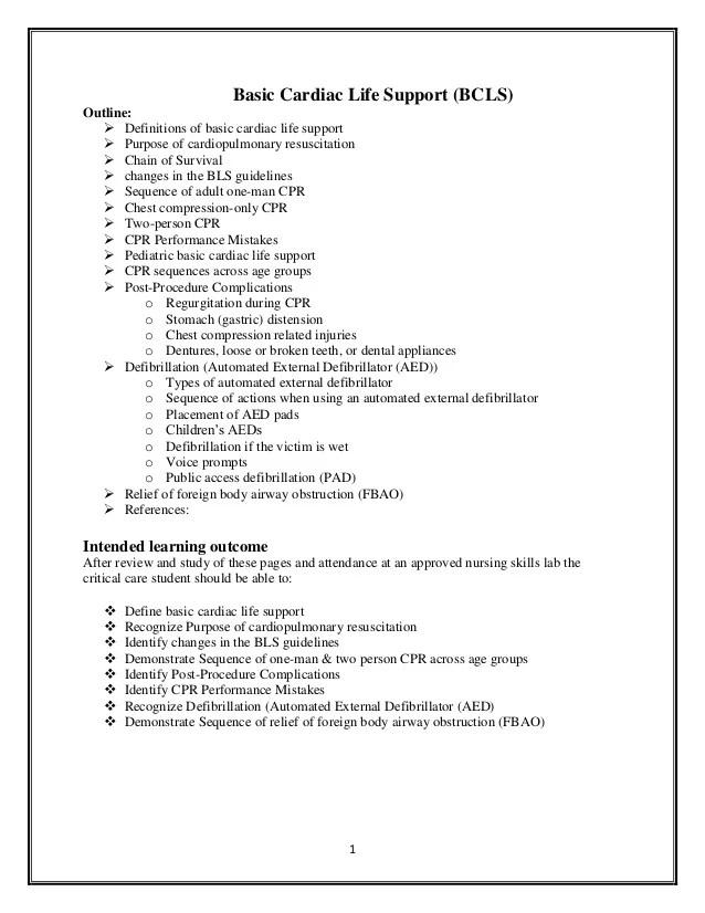 resume for basic life support