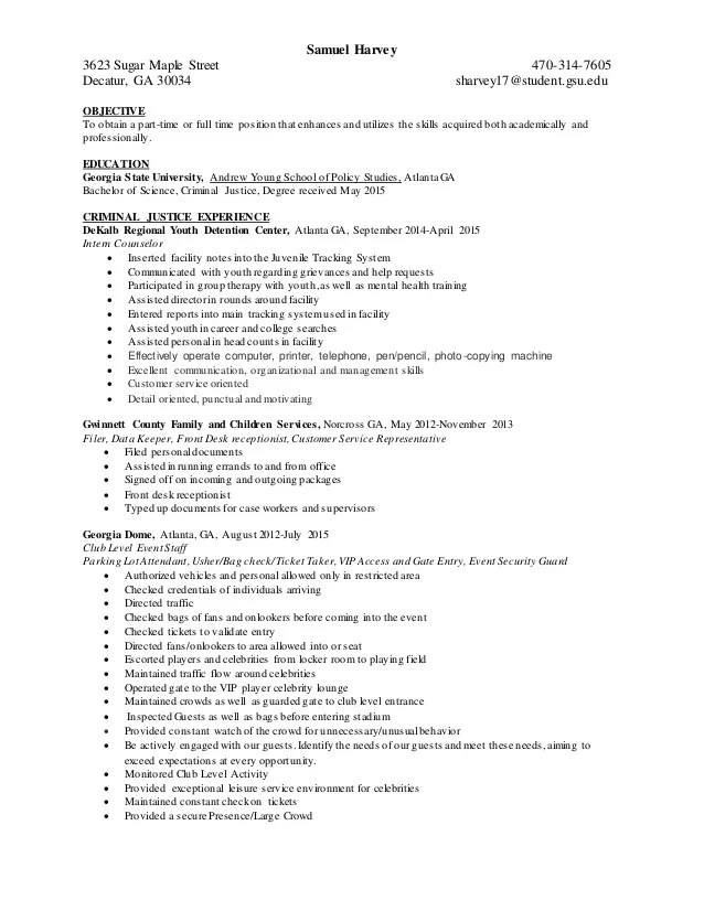 objective examples for criminal justice resume