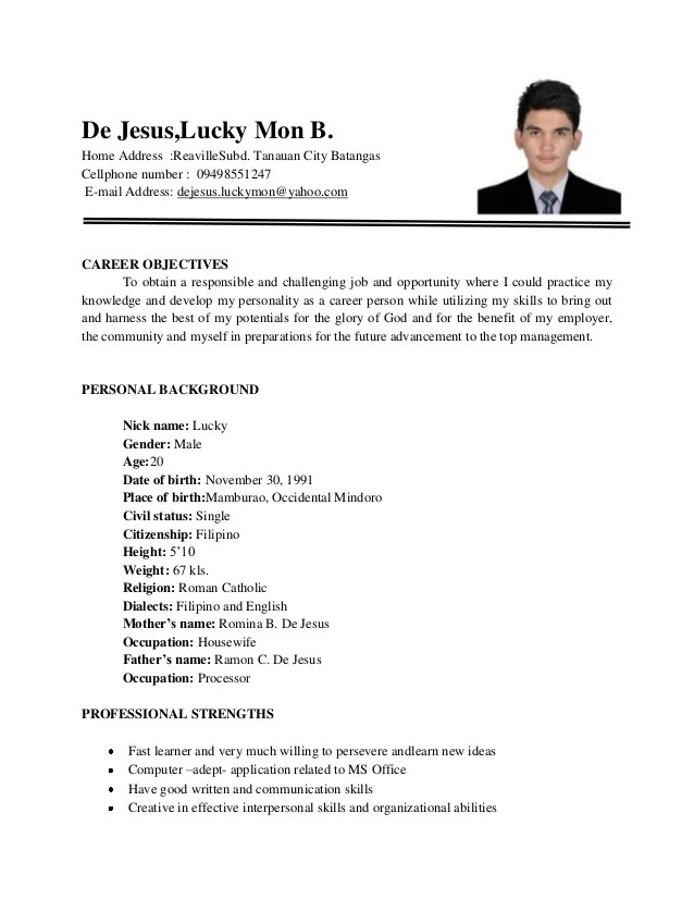 Resume Profile Examples For Many Job Openings 1 De Jesus Resume