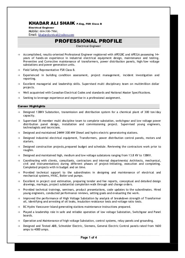 sample fsr resume