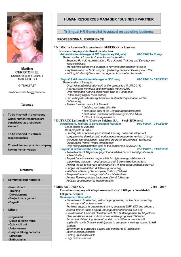 english cv human resources manager