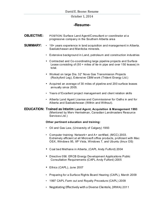 Resume Examples With Objective Resume Objective Examples For Various Professions David Boone Landman Resume Revised
