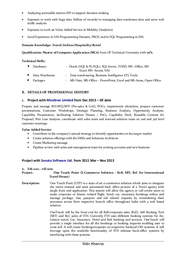Help Desk Manager Resume Sample One It Resume Lead Business Analyst Resume Of Nitin Khanna