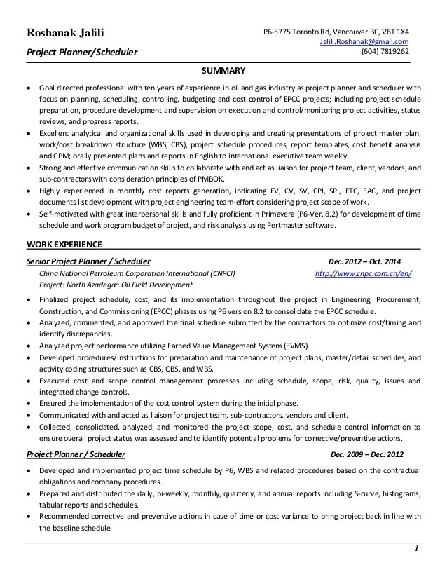 project scheduler resume - Josemulinohouse - gas scheduler sample resume