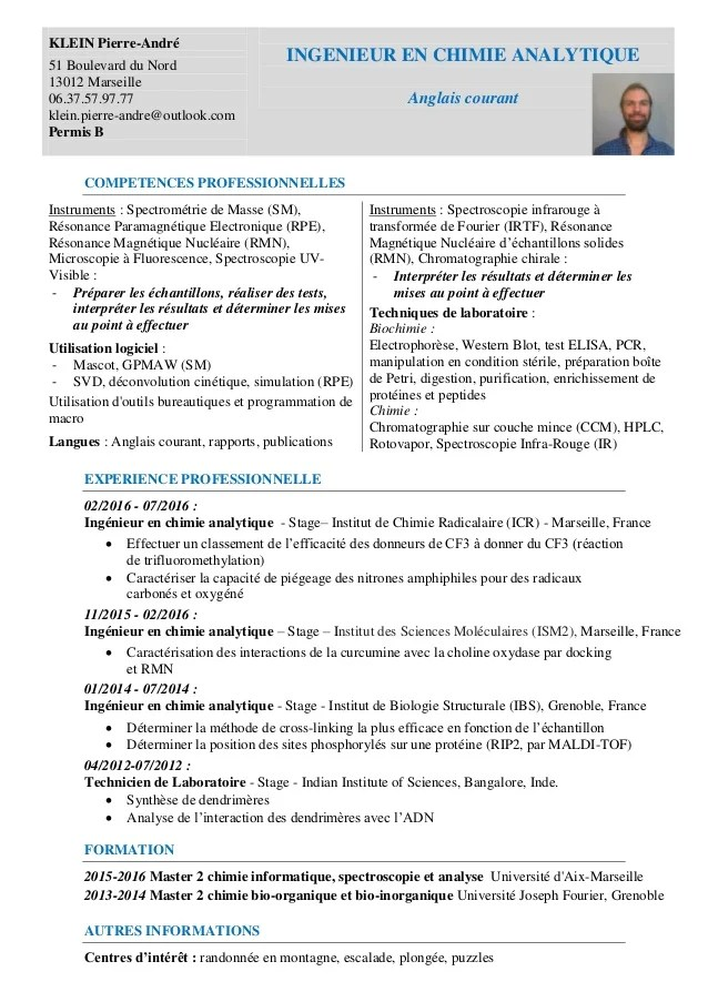 cv analytique modele