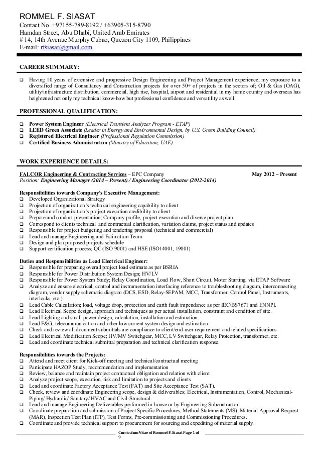 Lead Electrical Engineer Sample Resume | Resume CV Cover Letter