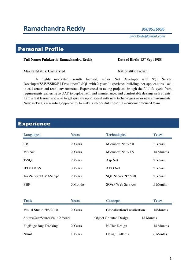 sample resume for 2 years experience in php