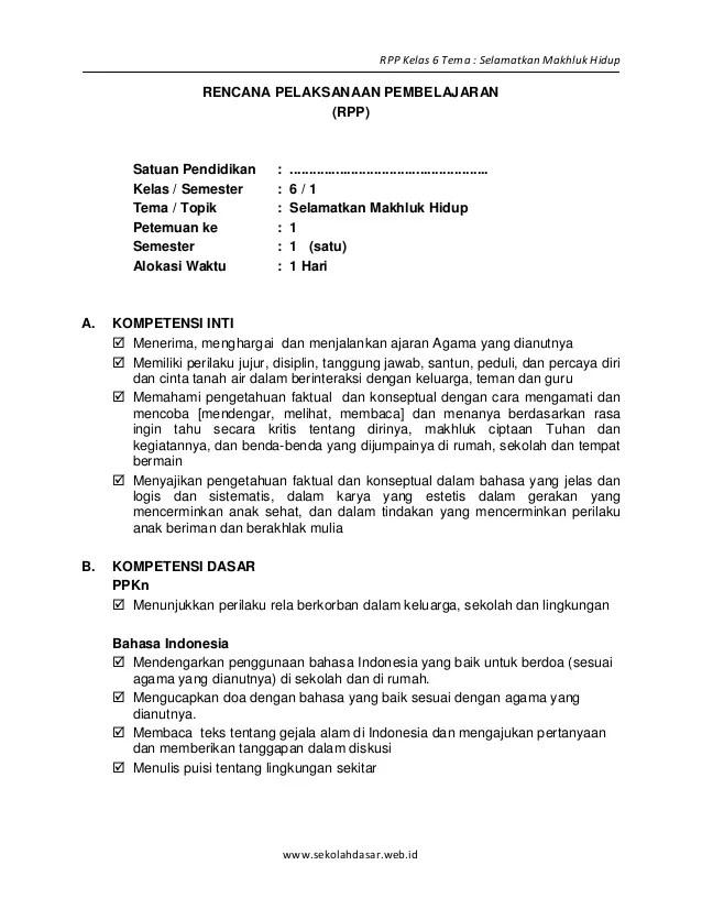 Rpp Kls 5 Rpp Bahasa Indonesia Sma Kls Xi Slideshare Rpp Kelas 6 Tema Selamatkan Makhluk Hidupsekolahdasarweb
