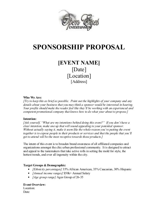 sponsorship proposal template - Geccetackletarts - example of sponsorship proposal