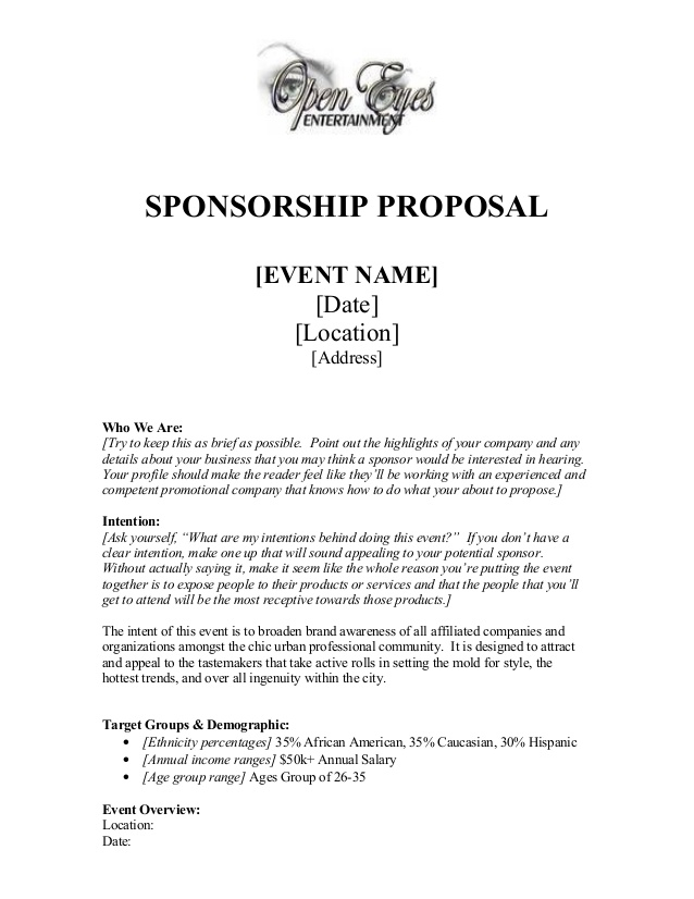 cover letter sponsorship proposal sample how to write a sponsorship proposal sample - Cover Letter For Sponsorship Proposal