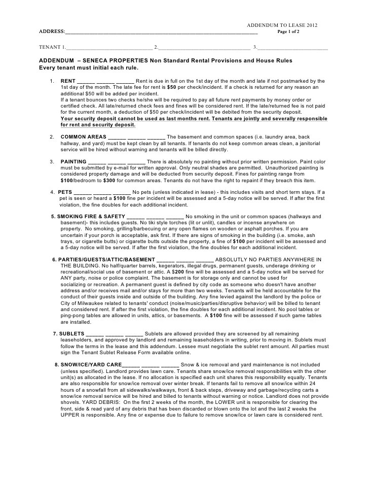 Lease Agreement For Pets Addendum  Resume Maker Create