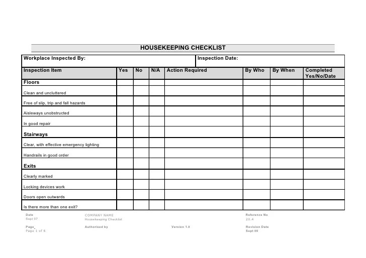 warehouse housekeeping checklist template - Canasbergdorfbib