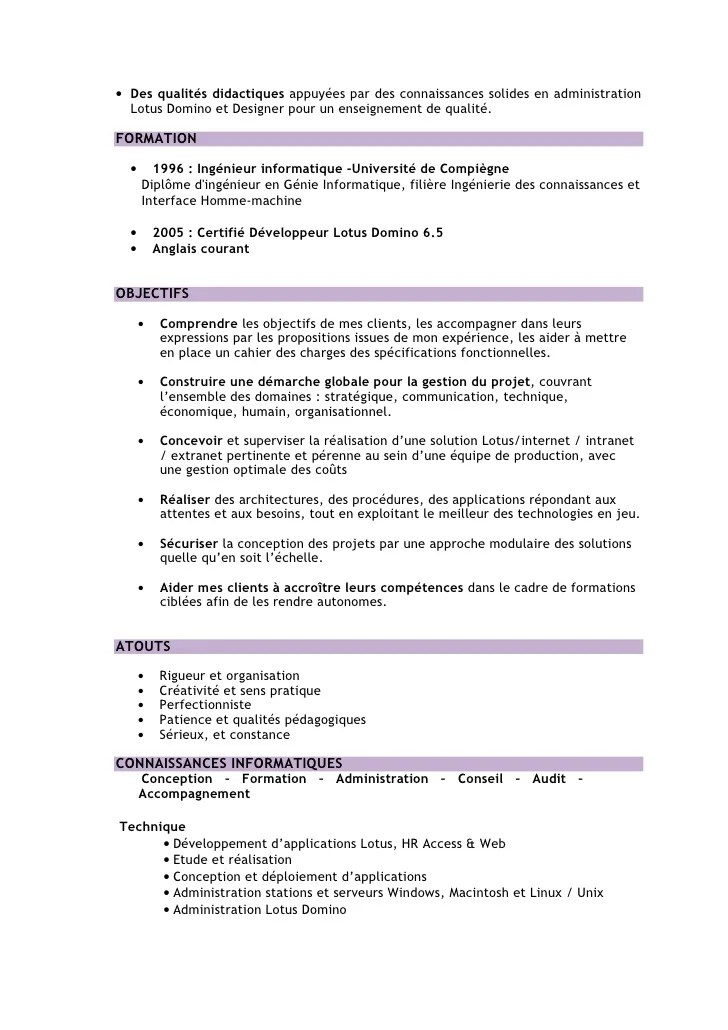 cv ingenieur informatique senior
