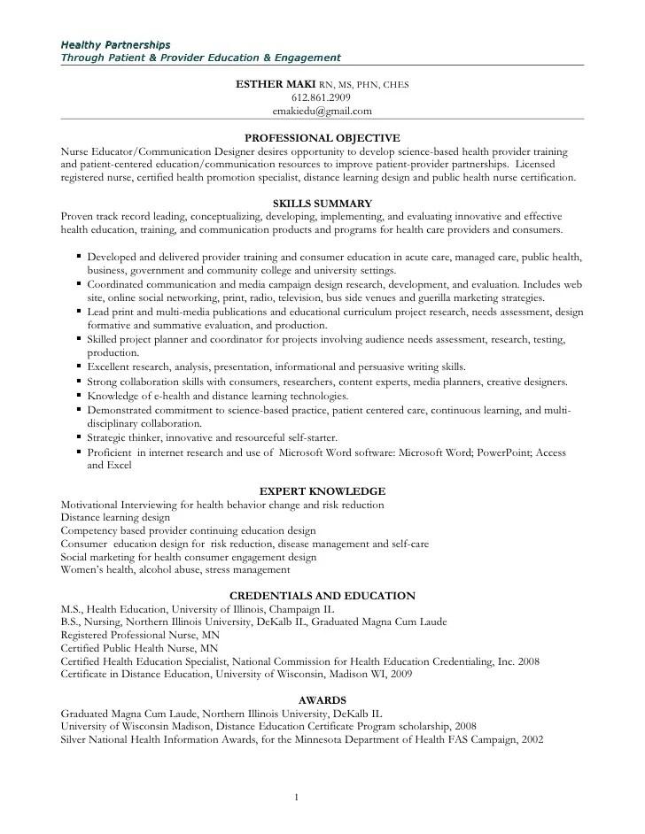 health education resume - Selol-ink