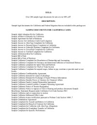 200 sample legal documents for California and Federal ...