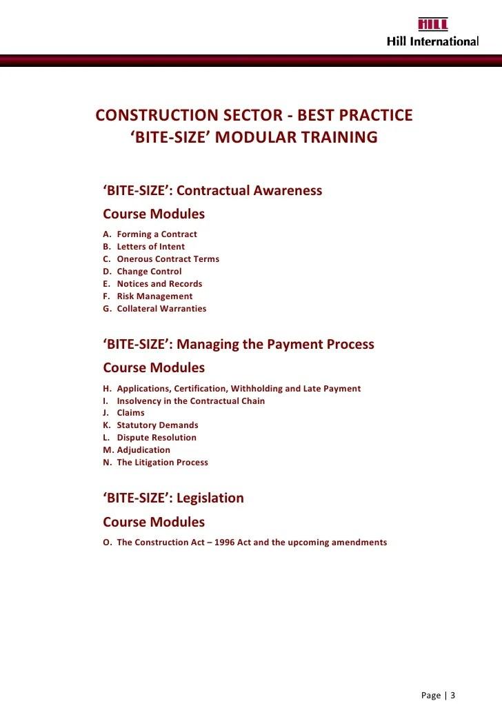 Sample Templates 2010 Hill International Bite Size Training Prospectus