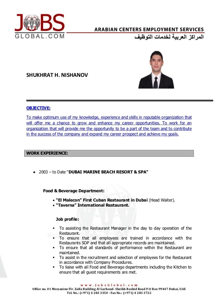 experience letter hotel waiter professional resumes example online