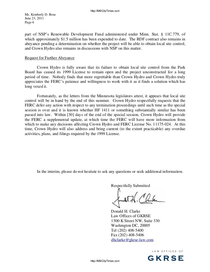 Contract Termination Sample Letter Notice Of Crown Hydro Response To Ferc Termination Letter