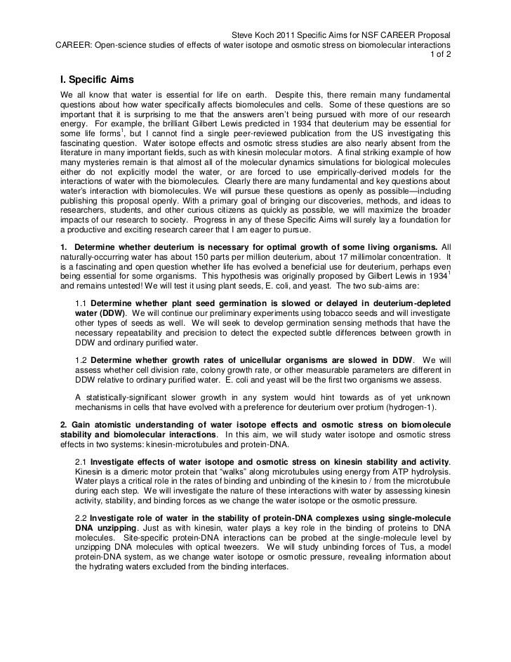 Workbooks Grant Writers Seminars Workshops Llc 2011 Nsf Careersteve Koch Specific Aims