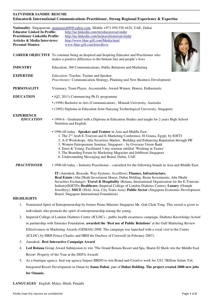 Resume Sample International Trade Functional 2011 Satvinder Sandhu Resume Educator And Communication