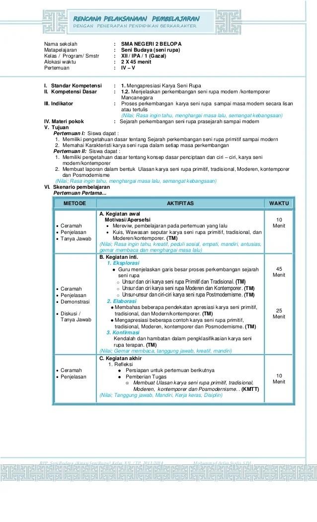 Penerapan Pendidikan Berkarakter Rencana Pembelajaran Contoh Rpp Berkarakter Sd Smp Sma Pelaksanaan Pembelajaran Dengan Penerapan Pendidikan Berkarakter