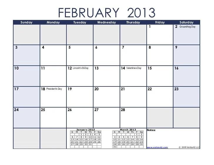 February 2013 calendar Template for Excel