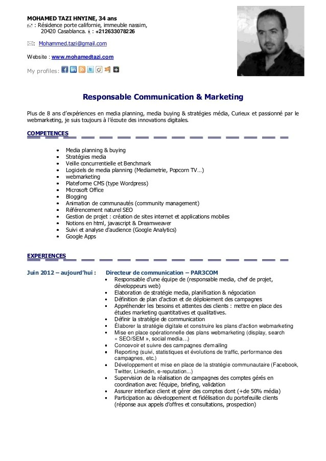 exemple cv responsable marketing et communication